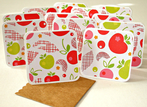 Mini card set, cherry apple mini cards, gift cards Set of 12 Mini note cards with pocket envelopes