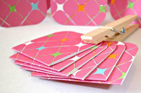 Pink star sparkle pattern mini card set, 1 1/2 dozen no envelopes Thank you notes, shop packaging cards