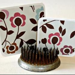 Mini cards, handmade mini card set - Willow flowers design, Set of 12 Thank you notes, personal greetings